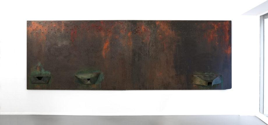 Ferdi Giardini Dentro una lacrima una tremenda accelerazione, 1987. Pigmenti puri su compensato, cm 162 x 488