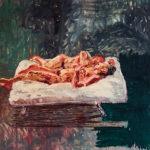 Peter Schmersal, Mann und Frau auf ihrem Bett, 2007, olio su tela, cm 200 x 130