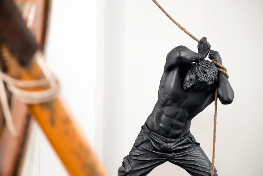 Simone Benedetto, Out of Control, 2016, resina, acciaio corten e legno, 320x400x100 cm